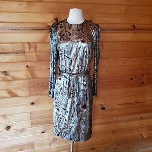 1980s Unlabeled Shiny Silver & Black Dress
